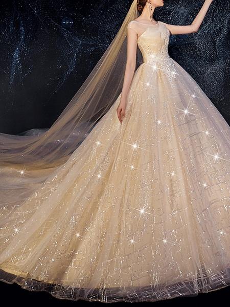 A-Line Wedding Dresses Jewel Neck Sweep \ Brush Train Lace Short Sleeve_1