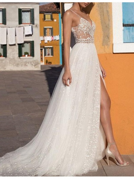 A-Line Wedding Dresses V Neck Floor Length Tulle Sleeveless Casual Boho Plus Size_1