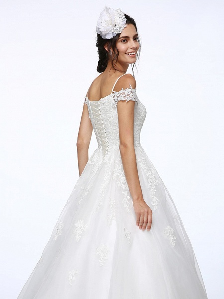 Ball Gown Wedding Dresses Off Shoulder Court Train Organza Beaded Lace Short Sleeve_8