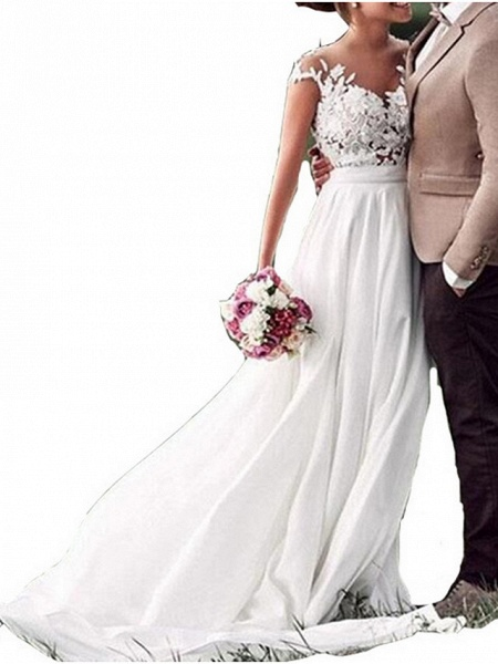 A-Line Wedding Dresses V Neck Sweep \ Brush Train Chiffon Lace Cap Sleeve_1