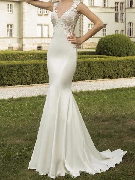 Mermaid \ Trumpet Wedding Dresses V Neck Sweep \ Brush Train Satin Tulle Sleeveless Formal_3