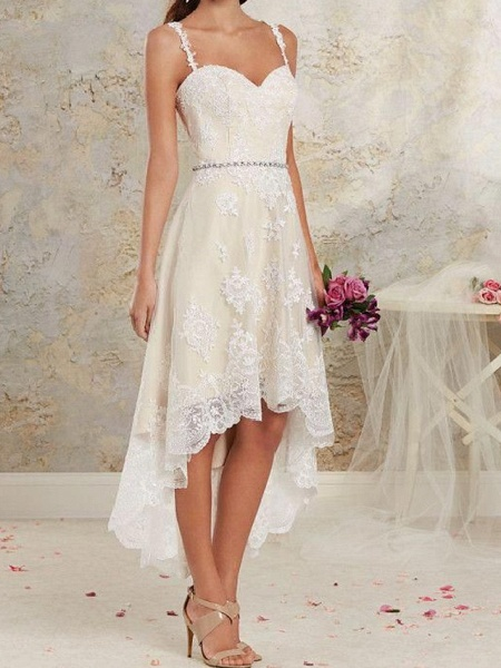 A-Line Wedding Dresses Spaghetti Strap Asymmetrical Lace Tulle Sleeveless Country Plus Size_2