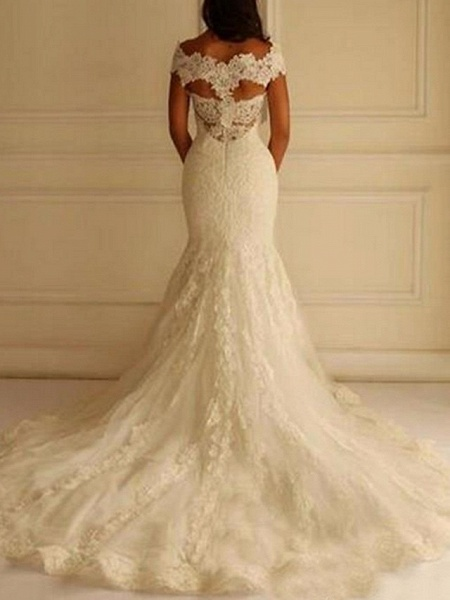 Mermaid \ Trumpet Wedding Dresses Off Shoulder Court Train Lace Short Sleeve Sexy Illusion Detail Backless_2