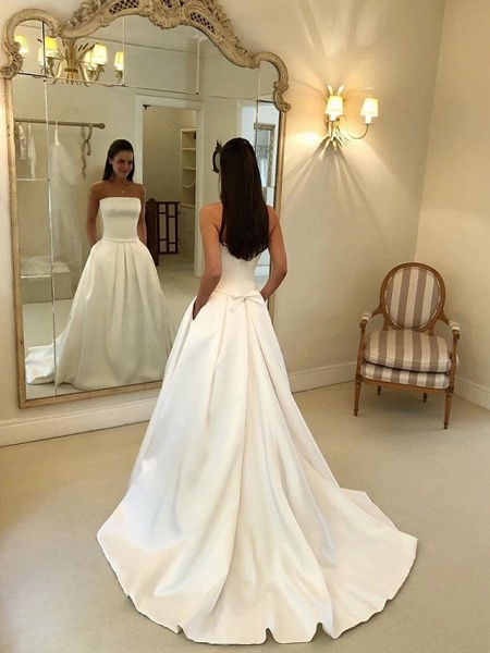 A-Line Wedding Dresses Strapless Court Train Polyester Strapless Sexy Plus Size_4