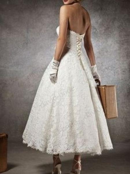 A-Line Wedding Dresses Strapless Tea Length Lace Sleeveless Formal Little White Dress_3