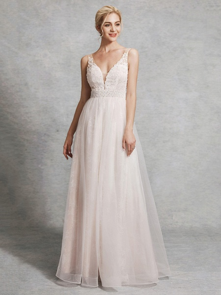 A-Line Wedding Dresses V Neck Floor Length Lace Satin Tulle Regular Straps_1