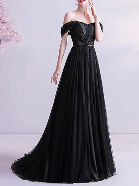 A-Line Wedding Dresses Off Shoulder Sweep \ Brush Train Tulle Cap Sleeve Formal Black Modern_4