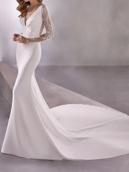 Mermaid \ Trumpet Wedding Dresses Plunging Neck Court Train Polyester Long Sleeve Country Illusion Sleeve_1