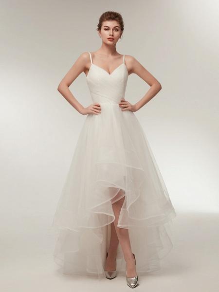 A-Line Wedding Dresses V Neck Asymmetrical Tulle Spaghetti Strap Simple Casual Little White Dress_3