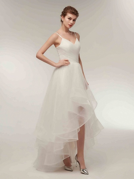 A-Line Wedding Dresses V Neck Asymmetrical Tulle Spaghetti Strap Simple Casual Little White Dress_6