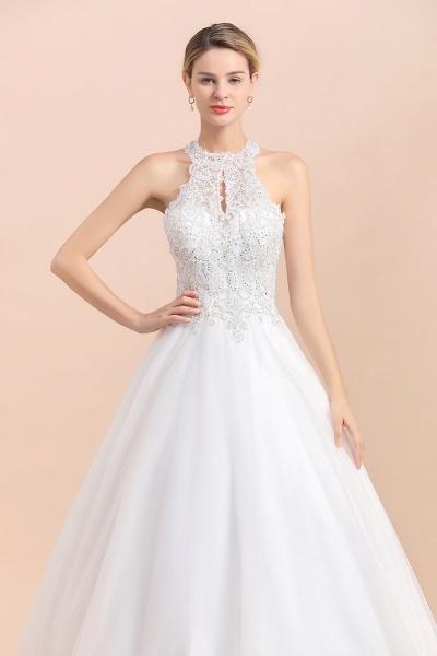 Halter Lace Appliques A-line Sleeveless Wedding Dress_5