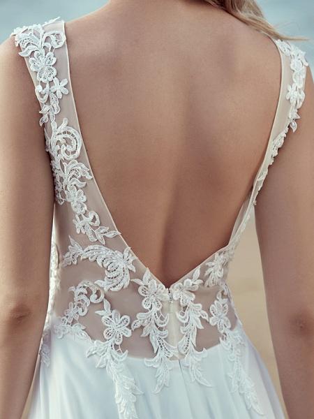 A-Line Wedding Dresses V Neck Sweep \ Brush Train Chiffon Lace Regular Straps Cutouts_10