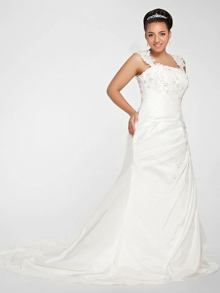 Mermaid \ Trumpet Wedding Dresses Square Neck Court Train Chiffon Regular Straps Vintage Sparkle & Shine Plus Size_2