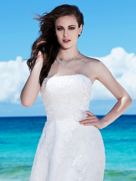 Sheath \ Column Wedding Dresses Strapless Tea Length Organza Sleeveless Little White Dress_5