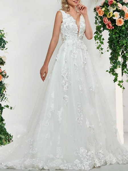 A-Line V Neck Sweep \ Brush Train Lace Tulle Sleeveless Sexy Backless Wedding Dresses_3