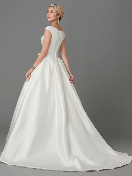 Princess Wedding Dresses Bateau Neck Court Train Satin Short Sleeve_2