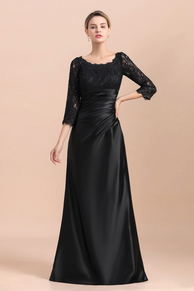 Elegant 3/4 Sleeves Black Satin Lace Ruffles Mother of Bride Dress_9