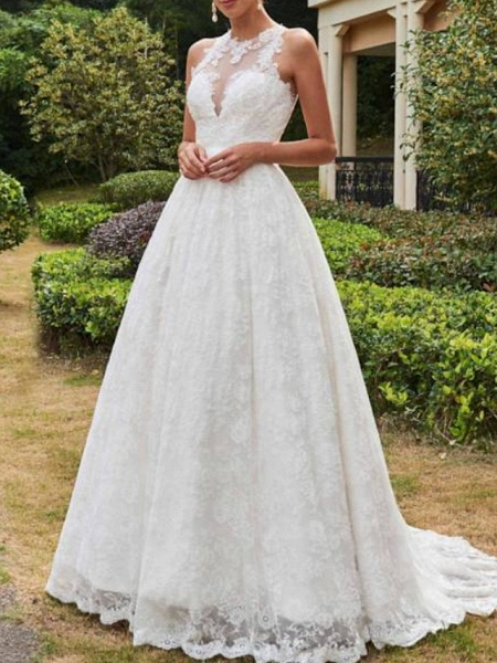 A-Line Wedding Dresses Jewel Neck Sweep \ Brush Train Lace Tulle Sleeveless Formal Sexy See-Through_1