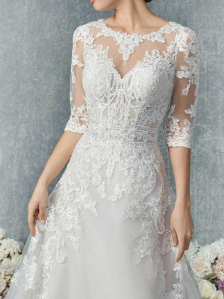 A-Line Wedding Dresses Jewel Neck Court Train Tulle 3\4 Length Sleeve Illusion Sleeve_2