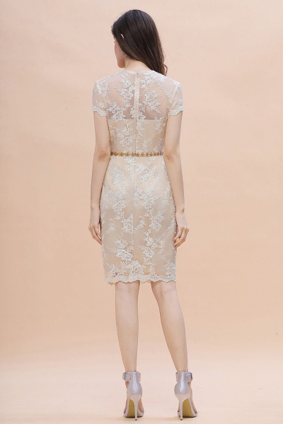 Tulle Lace Beads Belt Short Sleeves Mother of Bride Dress_9
