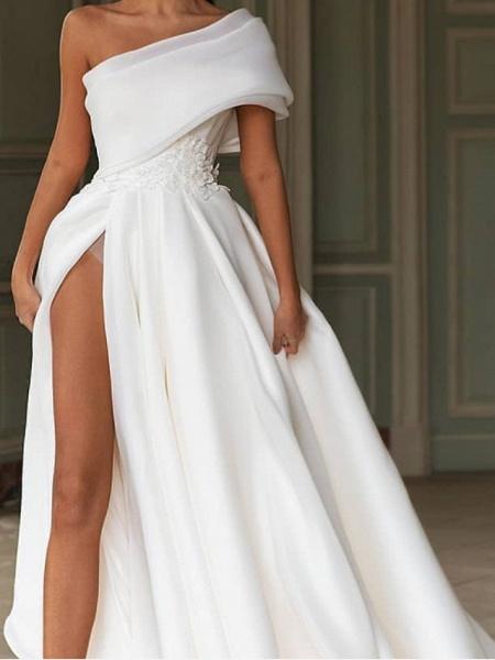 A-Line One Shoulder Sweep \ Brush Train Chiffon Over Satin Short Sleeve Simple Modern Wedding Dresses_2