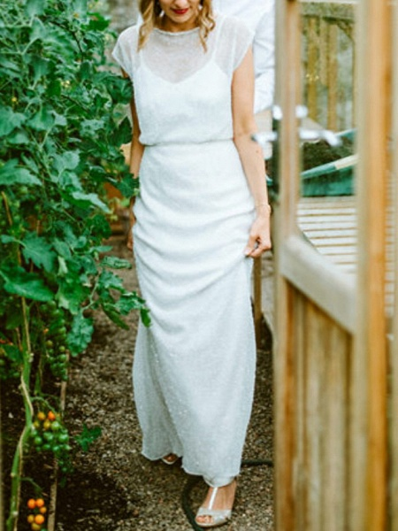 Sheath \ Column Wedding Dresses Jewel Neck Floor Length Tulle Sequined Half Sleeve Beach Sexy_3