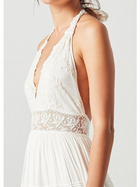 A-Line Wedding Dresses Halter Neck Sweep \ Brush Train Polyester Sleeveless Country Plus Size_4