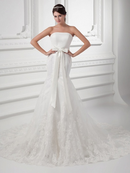 Mermaid \ Trumpet Strapless Chapel Train Lace Satin Tulle Strapless Wedding Dresses_1