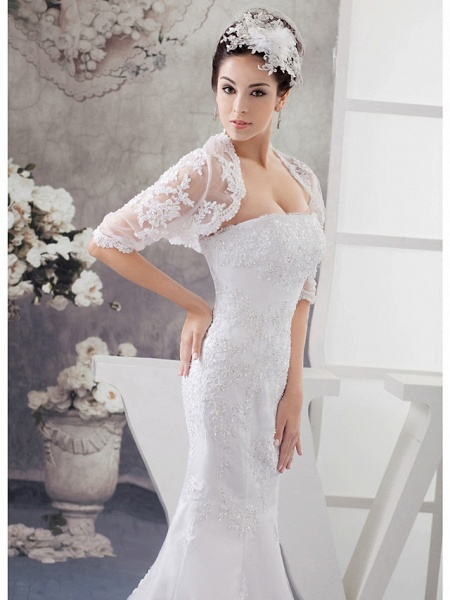 Mermaid \ Trumpet Strapless Court Train Lace Satin Half Sleeve Wedding Dresses_4