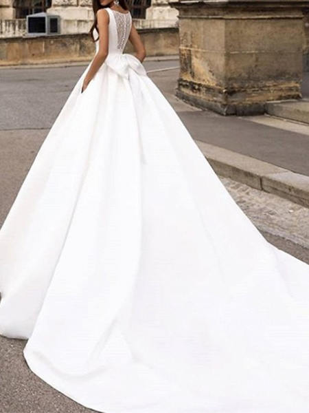 Ball Gown Wedding Dresses Square Neck Court Train Chiffon Over Satin Cap Sleeve Country_2