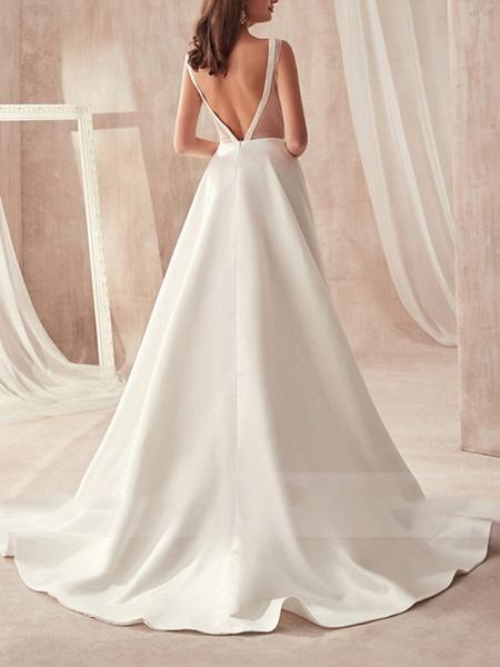 A-Line Wedding Dresses V Neck Sweep \ Brush Train Satin Sleeveless Formal_3