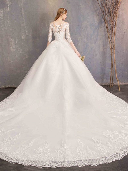 Ball Gown Wedding Dresses Jewel Neck Chapel Train Tulle Lace Over Satin Half Sleeve Illusion Sleeve_9
