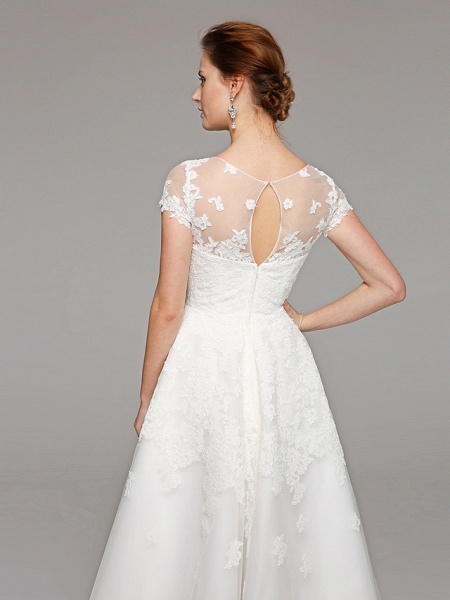 Ball Gown Wedding Dresses Bateau Neck Tea Length Lace Over Tulle Short Sleeve Formal Casual Illusion Detail Cute_11