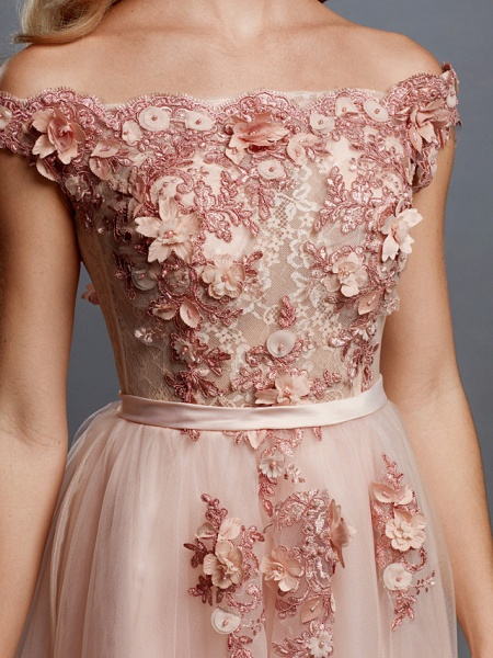 A-Line Floral Pink Prom Formal Evening Dress Off Shoulder Sleeveless Sweep \ Brush Train Tulle Over Lace_6