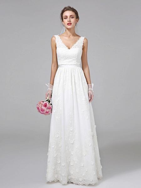 A-Line Wedding Dresses V Neck Floor Length Lace Regular Straps Simple Illusion Detail_1