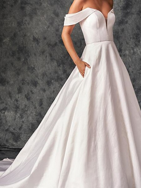 A-Line Wedding Dresses Off Shoulder Sweep \ Brush Train Chiffon Over Satin Short Sleeve Country Plus Size_3