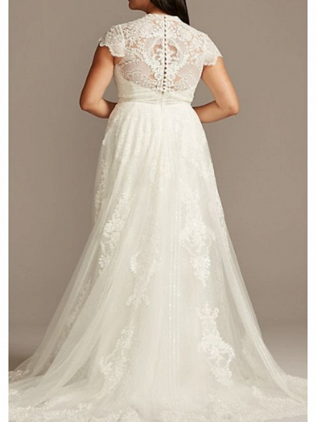 A-Line Jewel Neck Sweep \ Brush Train Lace Charmeuse Short Sleeve Formal Plus Size Wedding Dresses_2