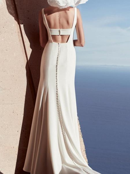 Sheath \ Column Wedding Dresses V Wire Floor Length Satin Sleeveless Country Beach Plus Size_2