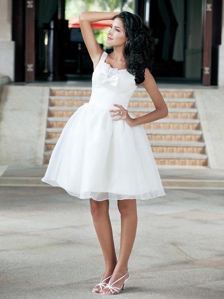 Ball Gown Wedding Dresses Square Neck Knee Length Organza Taffeta Regular Straps Little White Dress_6