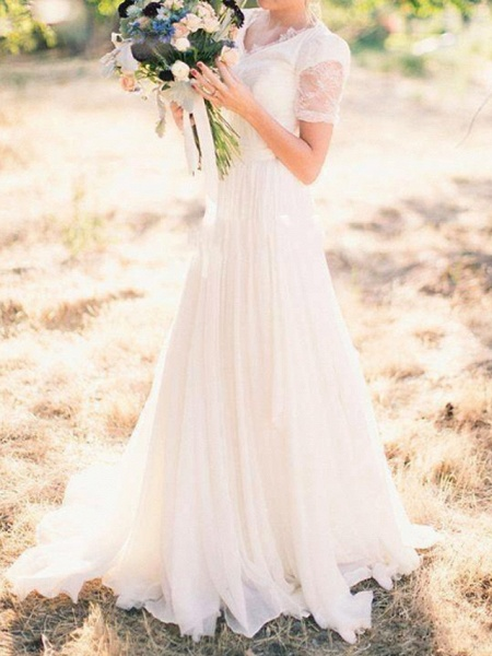 A-Line Wedding Dresses V Neck Sweep \ Brush Train Chiffon Lace Taffeta Cap Sleeve Country Plus Size_1