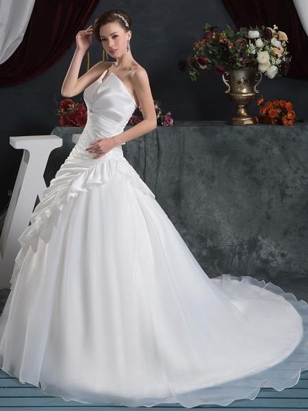 Ball Gown Strapless Court Train Organza Taffeta Strapless Wedding Dresses_2