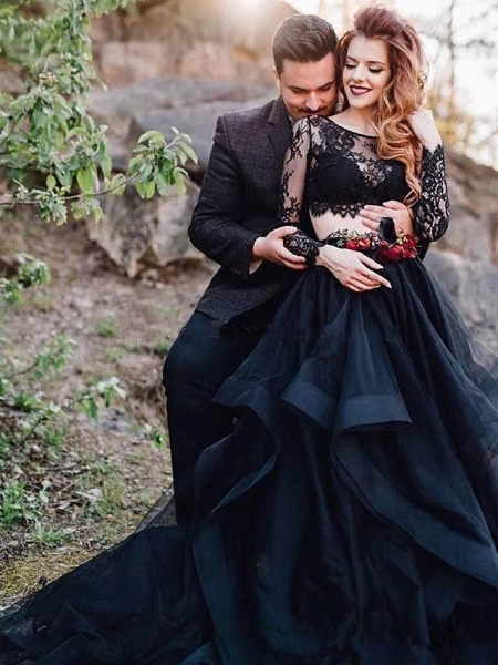 Ball Gown Jewel Neck Sweep \ Brush Train Lace Tulle Long Sleeve Sexy Plus Size Modern Illusion Sleeve Wedding Dresses_2