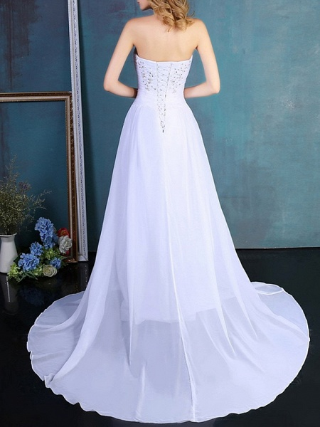 A-Line Wedding Dresses Strapless Sweep \ Brush Train Tulle Strapless Formal Plus Size_4