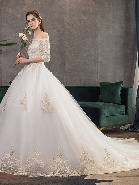 Ball Gown Wedding Dresses Off Shoulder Watteau Train Lace Tulle Polyester 3\4 Length Sleeve Romantic Illusion Sleeve_2