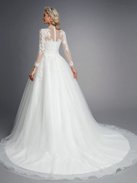 Ball Gown High Neck Court Train Lace Tulle Long Sleeve Romantic Plus Size Illusion Sleeve Wedding Dresses_2