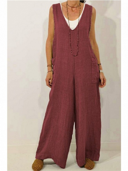 Women's Wine Green Navy Blue Jumpsuit_2