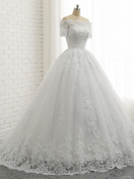 Ball Gown A-Line Wedding Dresses Off Shoulder Court Train Lace Tulle Lace Over Satin Short Sleeve Country Illusion Detail Backless_5
