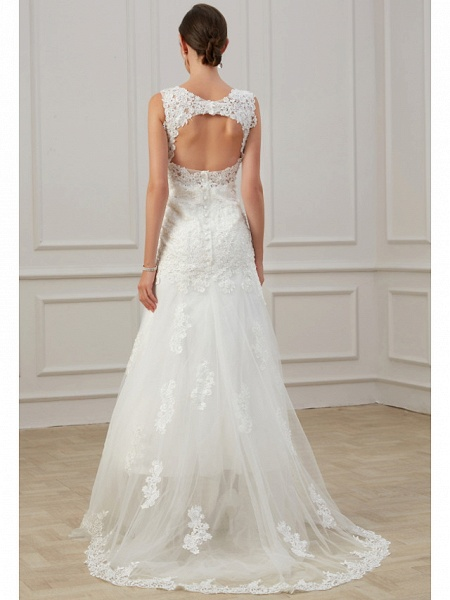 Sheath \ Column Wedding Dresses V Neck Floor Length Lace Tulle Sleeveless Formal Illusion Detail Plus Size_5