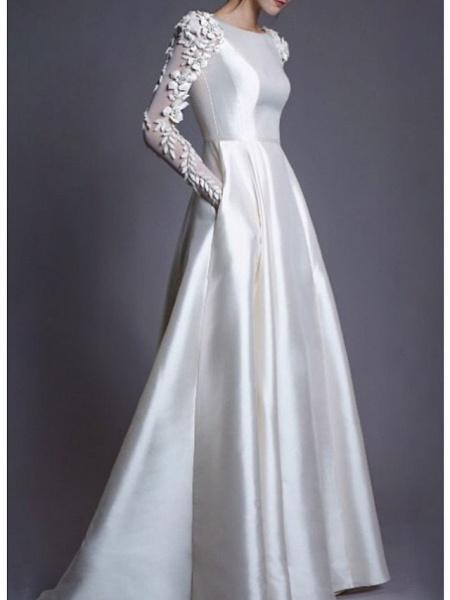 A-Line Wedding Dresses Jewel Neck Floor Length Lace Charmeuse Long Sleeve Simple Modern_1