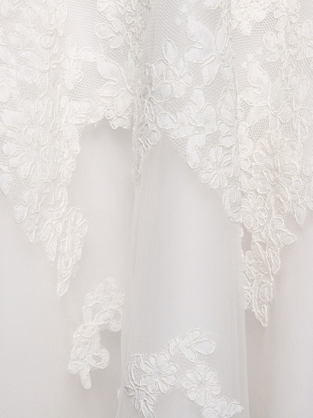 Ball Gown Wedding Dresses Bateau Neck Tea Length Lace Over Tulle Short Sleeve Formal Casual Illusion Detail Cute_6